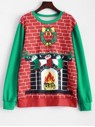 3D Fireplace Christmas Sweatshirt - RED/GREEN ONE SIZE