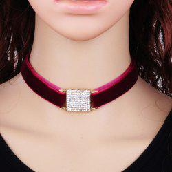 Rhinestone Square Velvet Choker Necklace