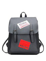 PU Leather Patches Buckles Straps Backpack