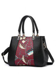 PU Leather Color Block Flag Print Handbag -