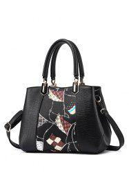 PU Leather Color Block Flag Print Handbag