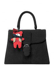 Stithing Cartoon Pendant PU Leather Tote