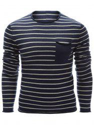 Round Neck Chest Pocket Striped Sweater