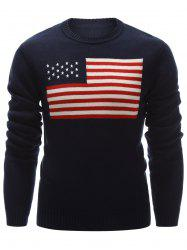 Crew Neck Flag Pattern Pullover Sweater