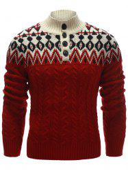 Zigzag Pattern Button Up Cable Knit Sweater - RED XL