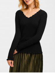 Flounce Ribbed Sweater
