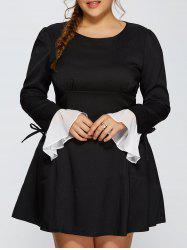 Plus Size Chiffon Cuff Insert Long Sleeve Empire Waist Skater Dress -