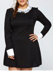 Plus Size Ruched Contrast Trim Long Sleeve Dress