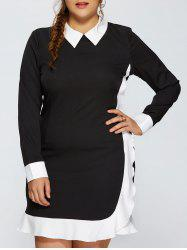 Contrast Trim Plus Size Panel Dress -