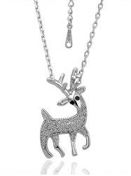 Rhinestoned Elk Christmas Necklace