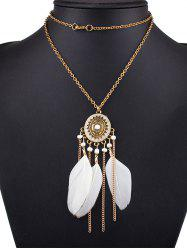 Medallion Feather Tassel Pendant Necklace