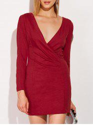 Low Cut Long Sleeve Plunge Fitted Dress