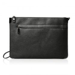 Métal cuir PU Double Zipper Clutch Bag - Noir