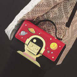 Metal Universe Pattern Colour Splicing Crossbody Bag - RED