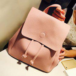 Drawstring Cover Backpack - PINK