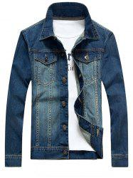 Bleach Wash Pockets Embellished Denim Jacket