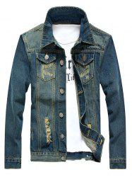 Holes and Cat's Whisker Embellished Denim Jacket - BLUE