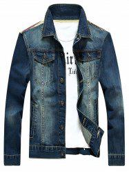 Stars and Stripes Applique Splicing design Veste en jean - Bleu 5XL