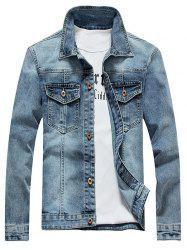 Bleach Wash Design Jean Jacket - LIGHT BLUE