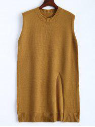 Plus Size Slit Sleeveless Sweater