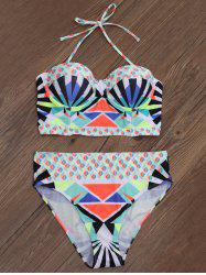 Geometric Padded Push Up Bikini Set