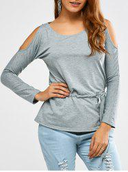 Cold Shoulder Drawstring Waist T-Shirt -