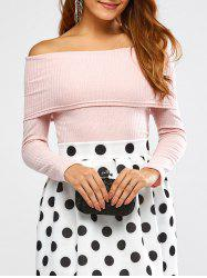 Off The Shoulder Ribbed Sweater -