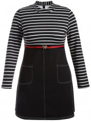 Plus Size Striped Double Pocket Dress