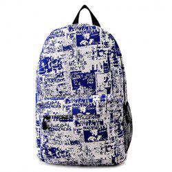 Canvas Letter Print Colour Splicing Backpack -