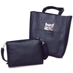 Open Faux Leather Tote Bag -