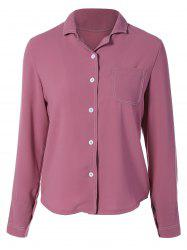 Lapel Collar Single-Breasted Shirt -