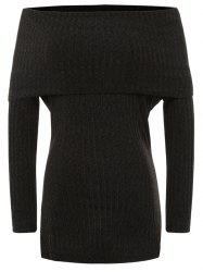 Foldover Off The Shoulder Ribbed Jumper - BLACK S