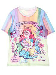 Jewel Neck Cartoon Pattern T-Shirt