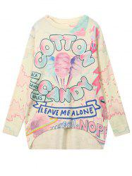 High Low Cartoon Graphic Pattern Sweater - COLORMIX ONE SIZE