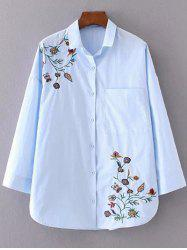 Flower Embroidered Shirt - AZURE L