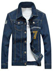 Embroidered Design Jean Jacket - BLUE