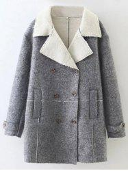Lapel Wool Blend Double Breasted Coat - GRAY L