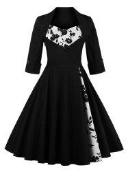 Knee Length Floral Flare Corset Dress - BLACK