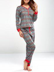 Christmas Snowflake Print Sleepwear Sets - LIGHT GRAY