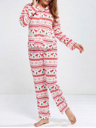 Deer Print Christmas Pajamas Sleepwear Sets - RED