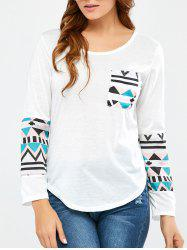 Geometrical Pocket Long Sleeve Tee -