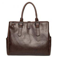 PU Leather Buckle Double Pocket Briefcase