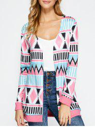 Open Front Geometric Print Coat