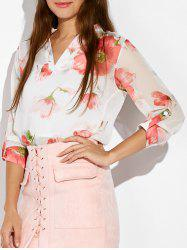 Floral Print High Low Blouse -