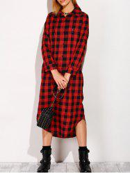 Long Sleeve Button Down Plaid Midi Flannel Shirt Dress -