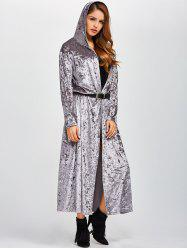 Open Front Maxi Velvet Coat - GRAY
