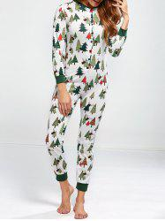 Christmas Tree Print Footed Pajama Sleepwear Sets - GREEN