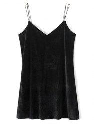 Double Strap Velvet Mini Dress