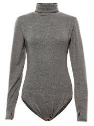 Fitted Gloved Sleeve Turtleneck Bodysuit - GRAY XL
