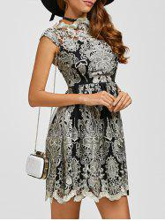 Arab Totem Embroidery High Waist Lace Skater Dress - BLACK XL